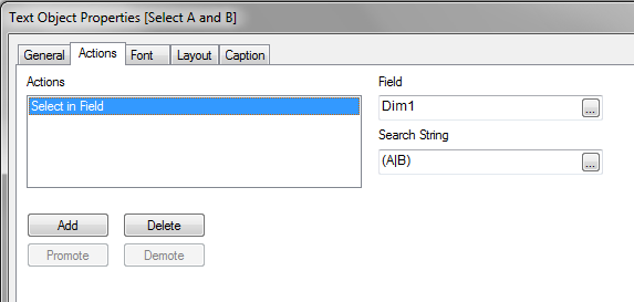 Select Dim1: A and B